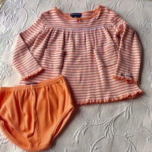 Ralph Lauren | Orange Striped Dress & Diaper Cover